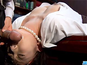 secretary gets her throat messed up by her chief