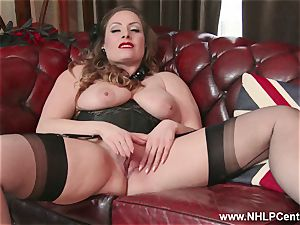 innate gigantic funbags black-haired Sophia Delane masturbates in nylons