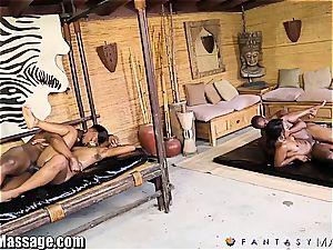 sensual dark-hued four way massage