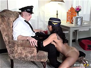 messy air hostess Lezley Zen makes sure the customer is satisfied
