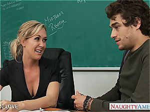blond educator Brandi enjoy railing bone in classroom