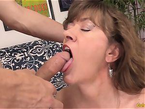 Mature stunner Morgan works a penis