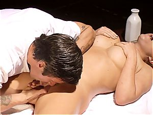 wild masseur makes Krissy Lynn jiggle after sensuous love making