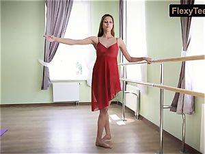 kinky gymnast Inessa in a crimson dress