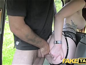 fake taxi Olive skin red-haired in lingerie