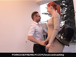 unsheathed audition - petite Russian ginger-haired squirts stiff