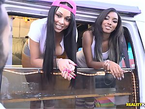 Raven Wylde and Bethany Benz facial in ice fluid truck get labia pulverized