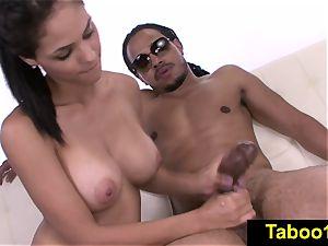 FetishNetwork Jasmine Caro sensual hand-job for stepbro