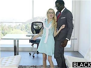 sizzling assistant Odette Delacroix mouths big black cock
