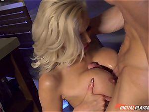 Vampiress Nina Elle deep-throats lollipop before biting her victim