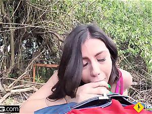 Roadside Natalie pov outdoors public fuck-fest with mechanic