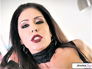 Jessica Jaymes showcase her humungous hooters and tiny moist muff