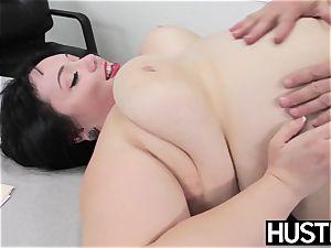 Angelic plus-size Alexxis Allure fed spunk after stiffy striking