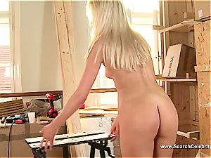 lovely blonde Andrea Francis inhaling spunk-pump with her mounds out