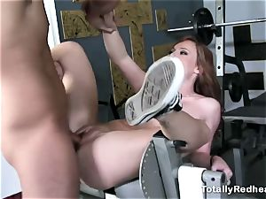 red haired doofy gets smashed rigid in the gym