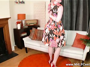 ash-blonde peels off retro lingerie milks in stilettos nylon