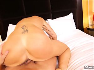 big-boobed Russian GILF splashes all over man sausage