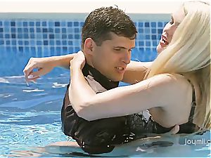 sexy Izzy gets her tight light-haired labia smashed by the pool