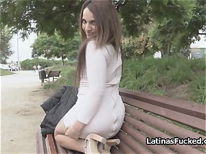Latina stunner is bare outdoors cocked indoors