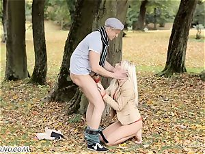 naughty bang-out in the woods without undressing