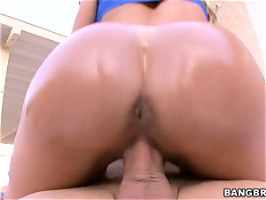 enormous bootie Brandi enjoy rides her mouth-watering coochie on top