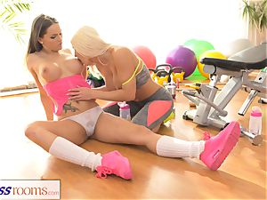 sport rooms Fit ginormous jugs girl-on-girl babes have molten romp