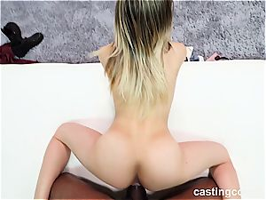 steamy interracial casting with a 19-year-old tramp