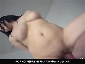 booties BESUCH - Naturally busty babe gets jizz on funbags