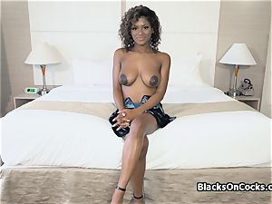 huge-titted dark-hued sweetie Lola well-lubed to deep-throat dick