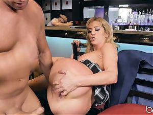 Cherie Deville rubs her pussy on Roman