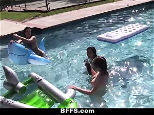 BFFS - girl-on-girl intercourse Pool soiree!