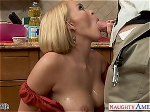 Krissy in the kitchen inhale and bangs until his pecker explodes