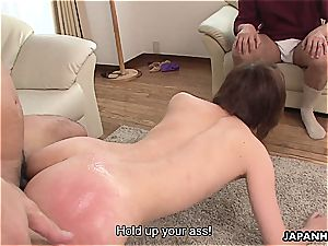 cheating asian wife pummeled in a wet session