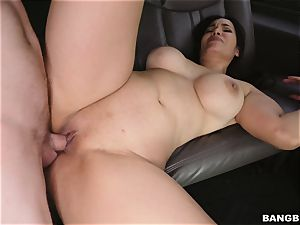 Smoking super-steamy dark haired picked up and poked on the BangBus