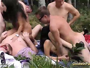 ultra-kinky outdoor groupsex bukkake fuck-fest