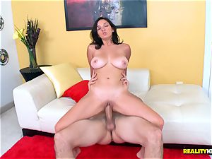 lovely lil' brown-haired Shae Summers rides on ginormous man rod