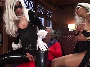 Vivid.com - three super Villains have a kinky threesome