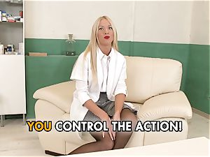 female dom nurse plays with her patients