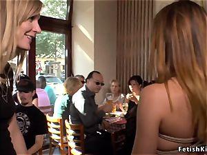 German bitch fucked in public bar
