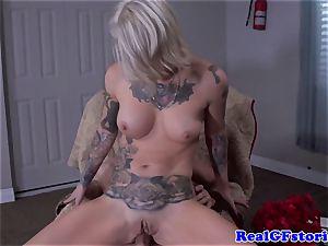 Tattood platinum-blonde cougar plowed in backdoor