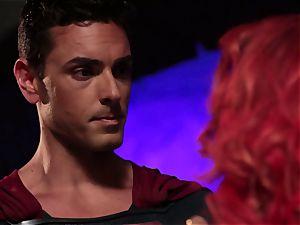 Britney Amber deep-throats off a insatiable superhero
