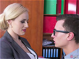 Boobylicious office enchantress got some manhood installed in her slit
