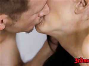 big-chested cougar rails rock-hard younger trouser snake and tastes cum