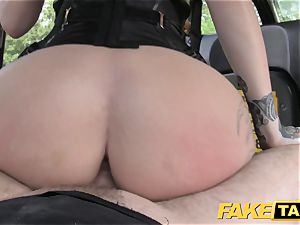 faux cab Fetish princess in black leather ass-fuck creampie