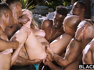 BLACKED Lena Paul very first multiracial group sex