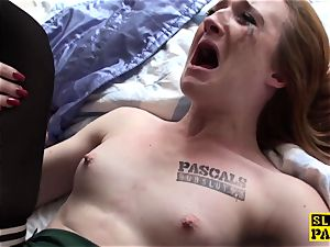 Ginger british victim super-bitch predominated in pantyhose