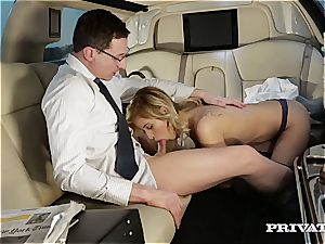 mind-blowing towheaded boning the ambassador in his limo