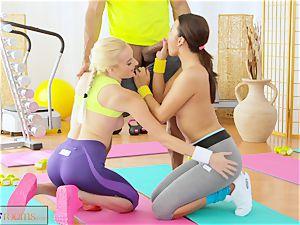 FitnessRooms teenagers bang gym teacher's giant man rod