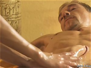 sensual massage For His fatigued trunk