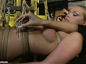 Kathia Nobili and Mandy Bright assets strapping with cord